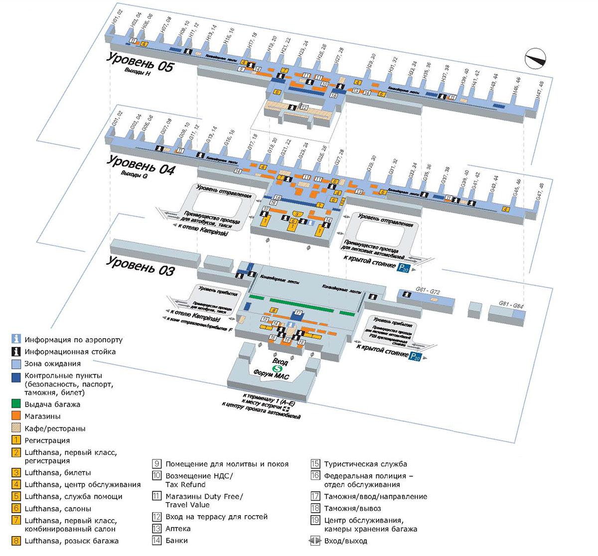 Схема терминала 2 аэропорта Мюнхена