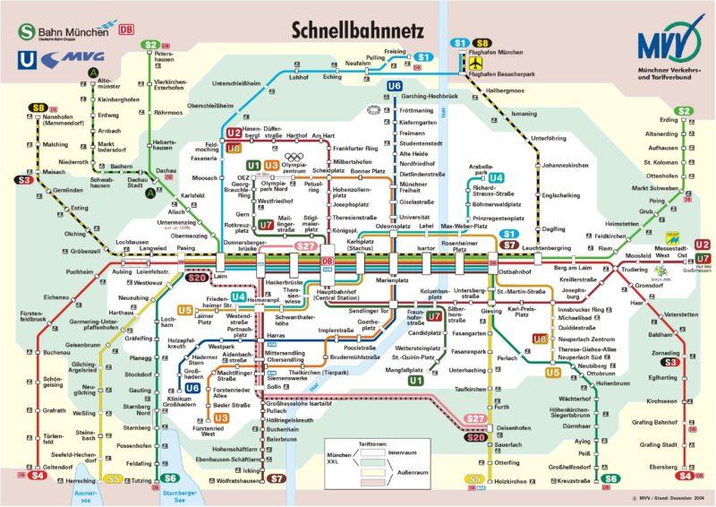 Карта S+U Bahn Мюнхен